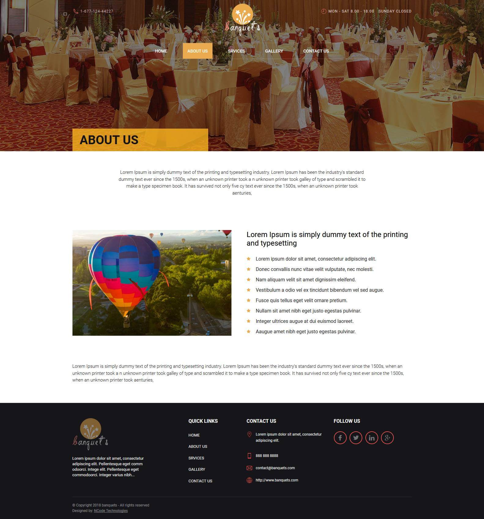 Fab Template: Fab Occasions Bootstrap 4 Template For Banquets Website