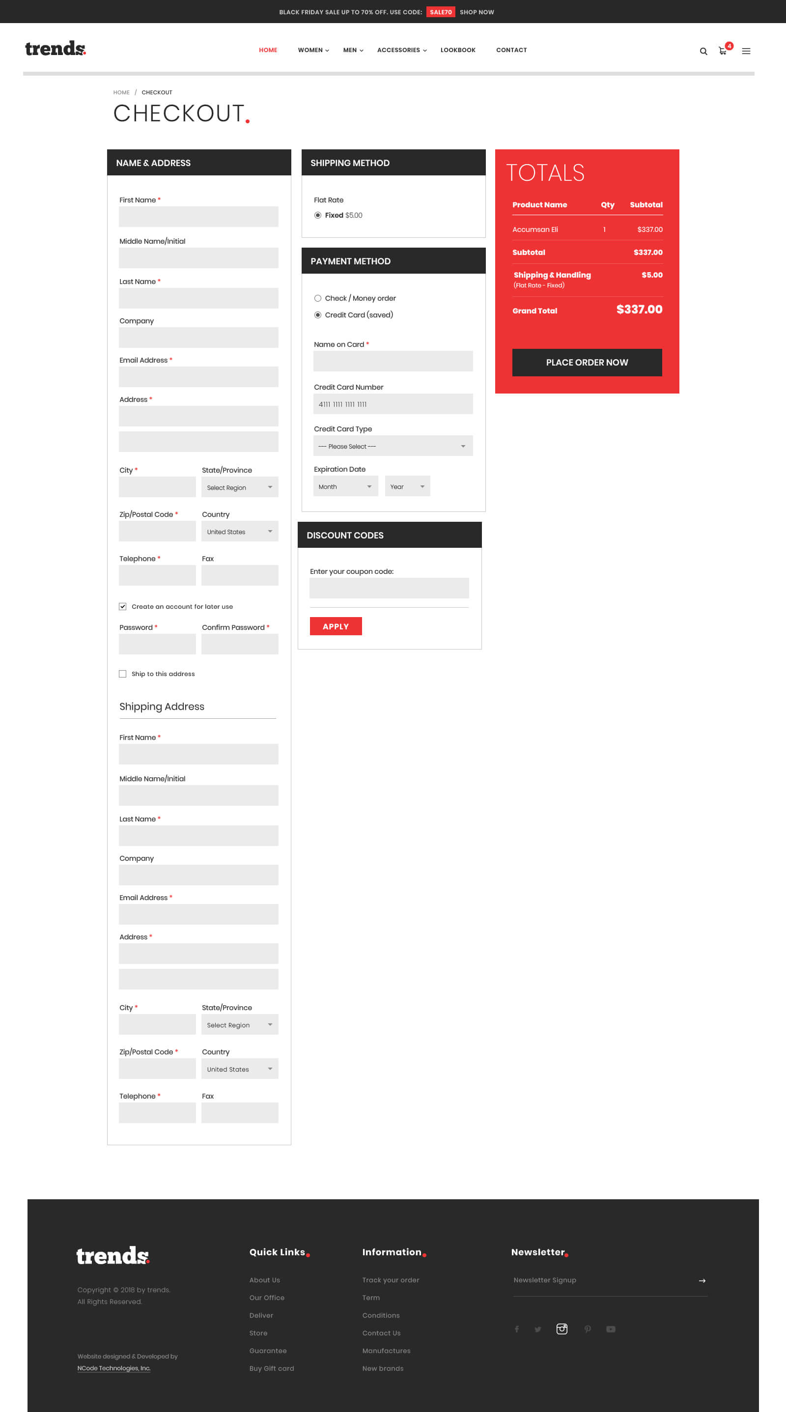 Trends Bootstrap 4 Template For Cloth Store