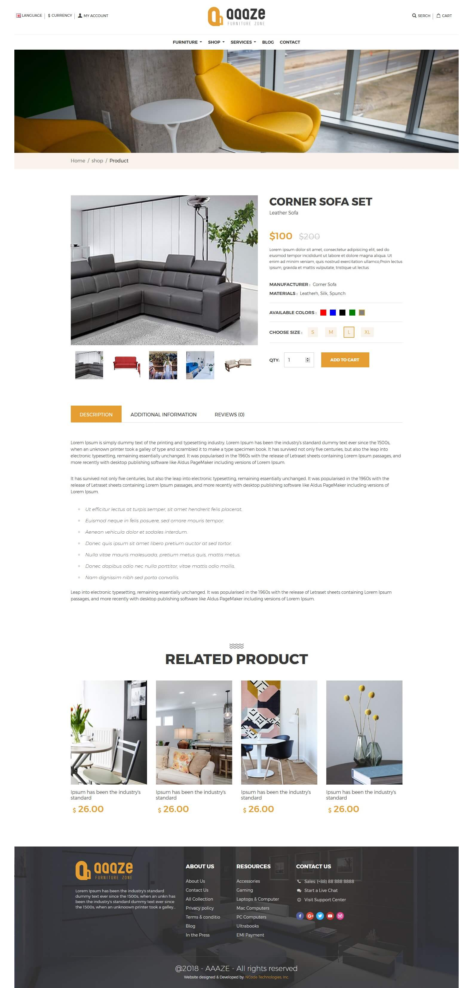 Aaaze Html Template For Furniture Store Ncode Technologies Inc