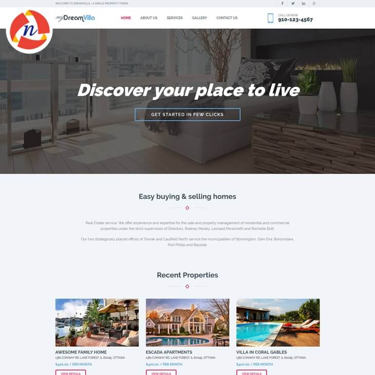 My Dream Villa Bootstrap 4 Template For Real Estate Website