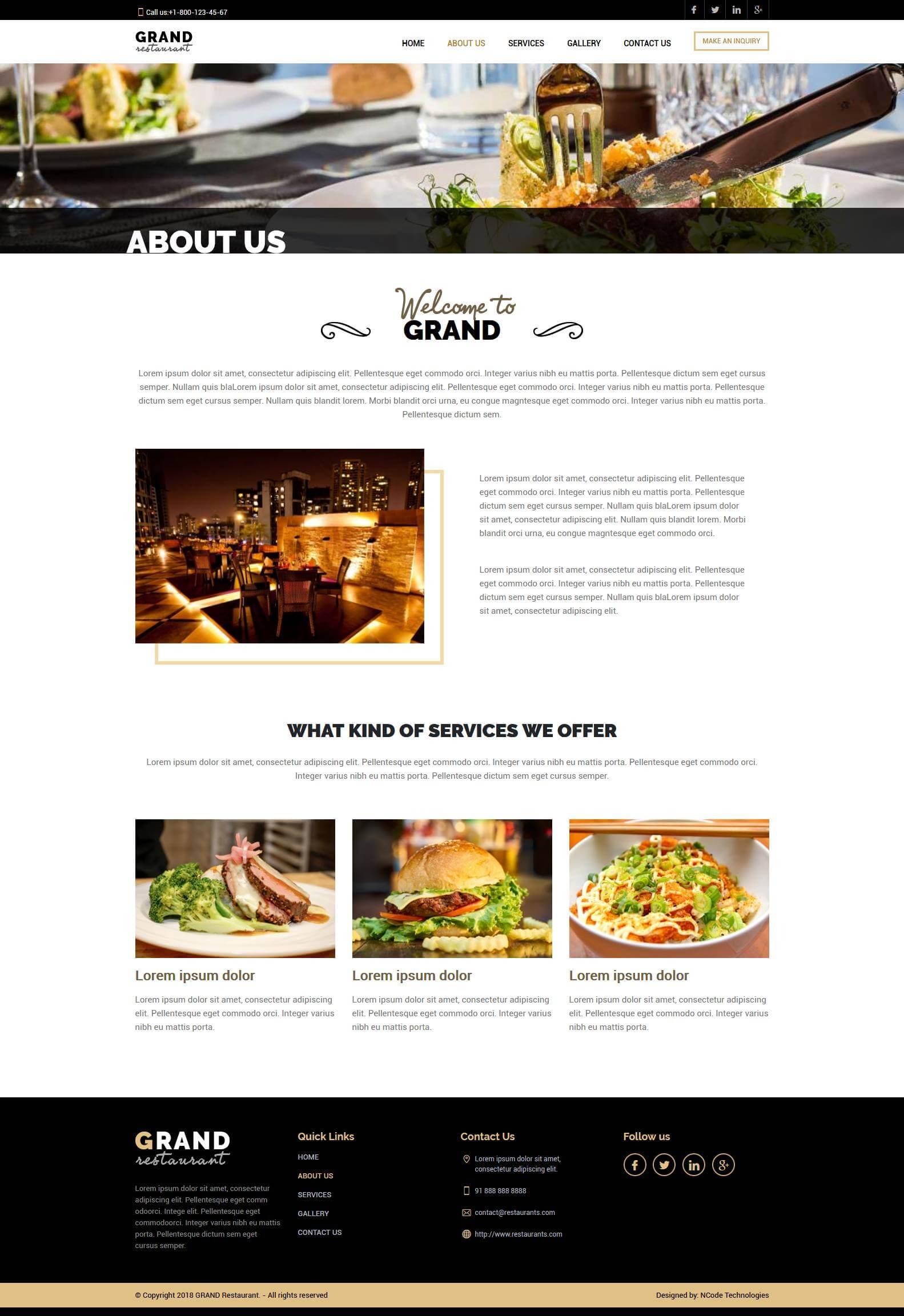 Grand Restaurant Psd Template For Restaurant Website Ncode