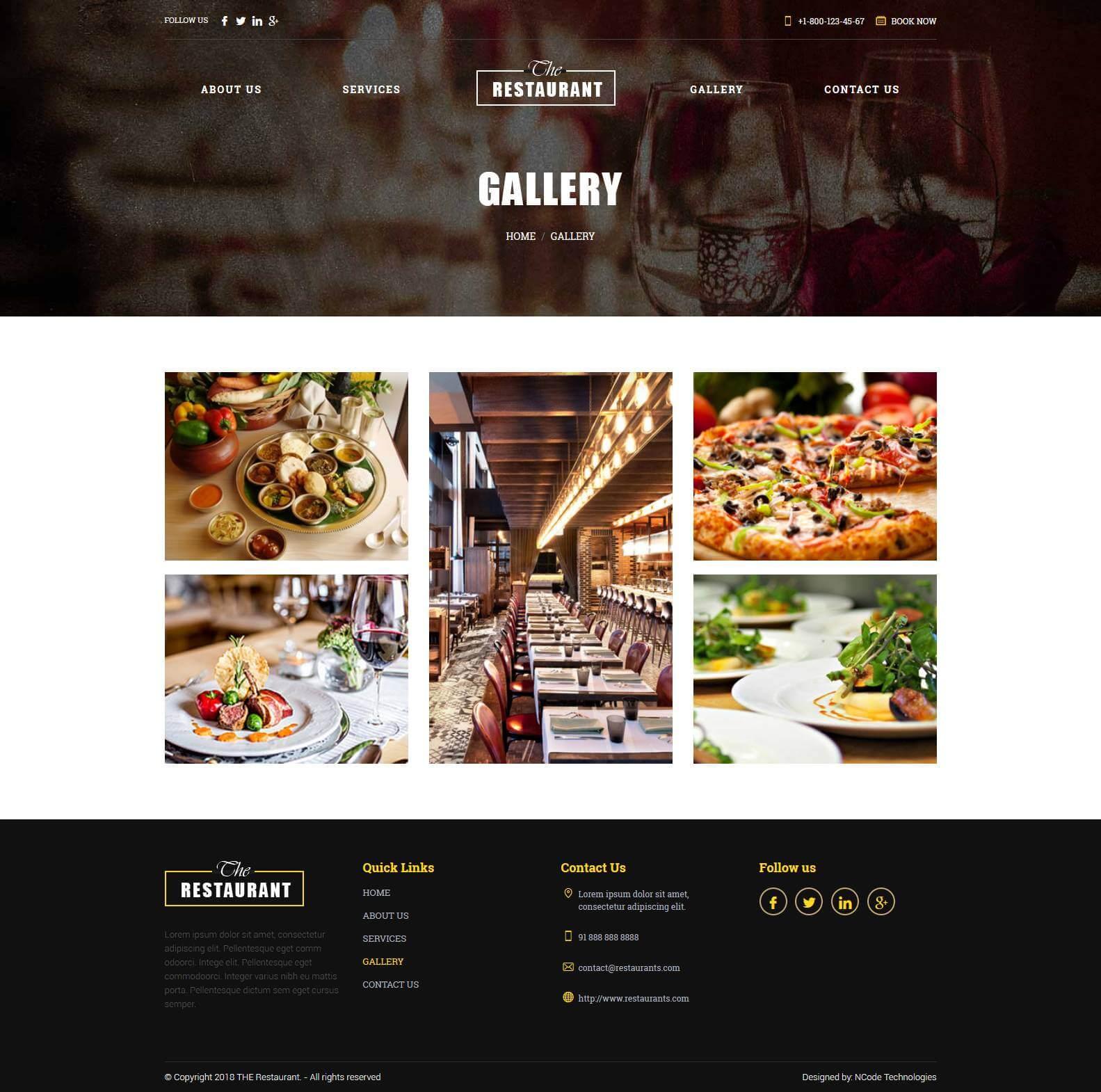 The Restaurant Html Template For Restaurants Website Ncode